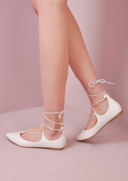 Lace Up Pointed Ballet Flats White
