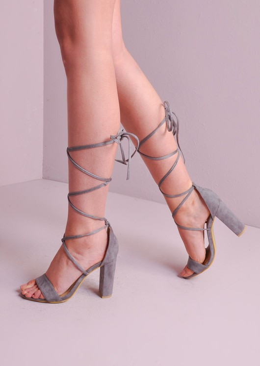 265f182e143 Lace Up Tie Strappy Peep Toe Block Heels Sandals Grey