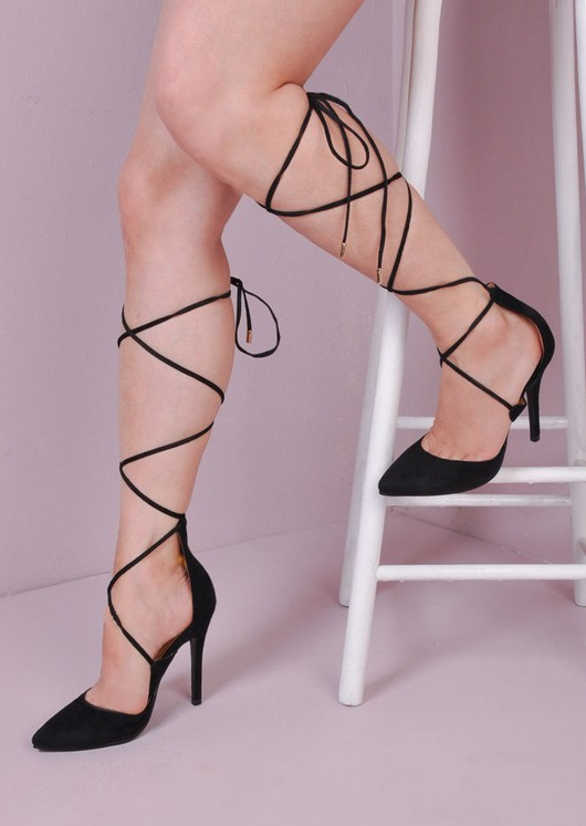Lace Up Suede Pointed Court Heels Black