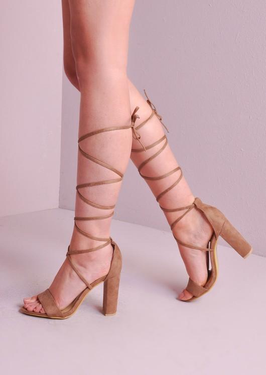 57d33b22058 Lace Up Tie Strappy Block Heels Sandal Mocha