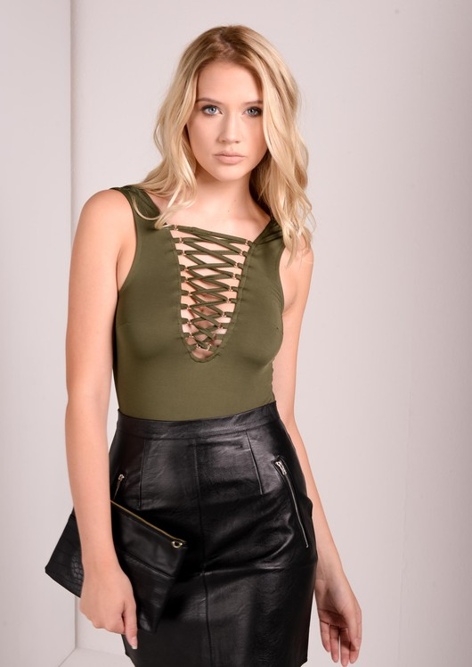 Khaki Lace Up Body Bodysuit Lily Lulu Fashion Nila 121257ec7