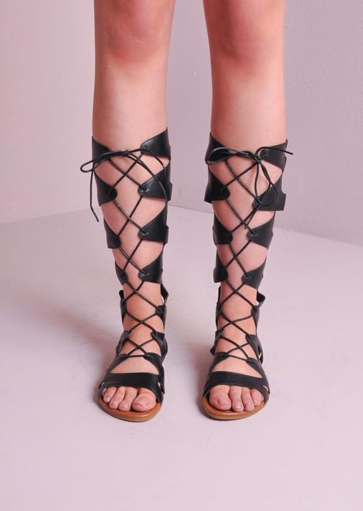 Lace Up Gladiator Sandals Black