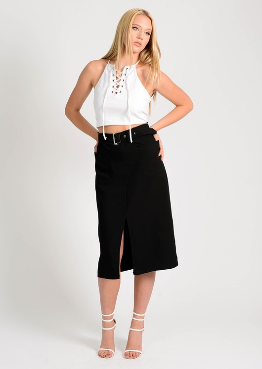Larna front split Midi Skirt Black