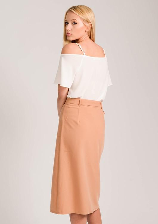 0f42fe4c0 Larna Camel Front Split Belted Midi Pencil Skirt