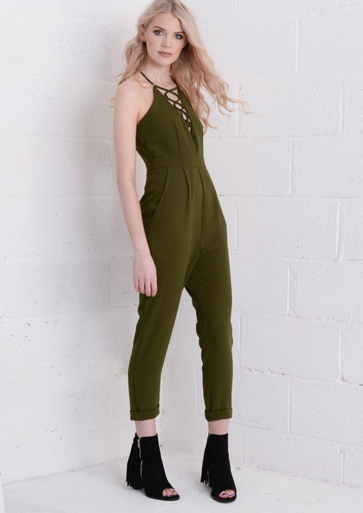 Lattice Front Slimline Jumpsuit Khaki