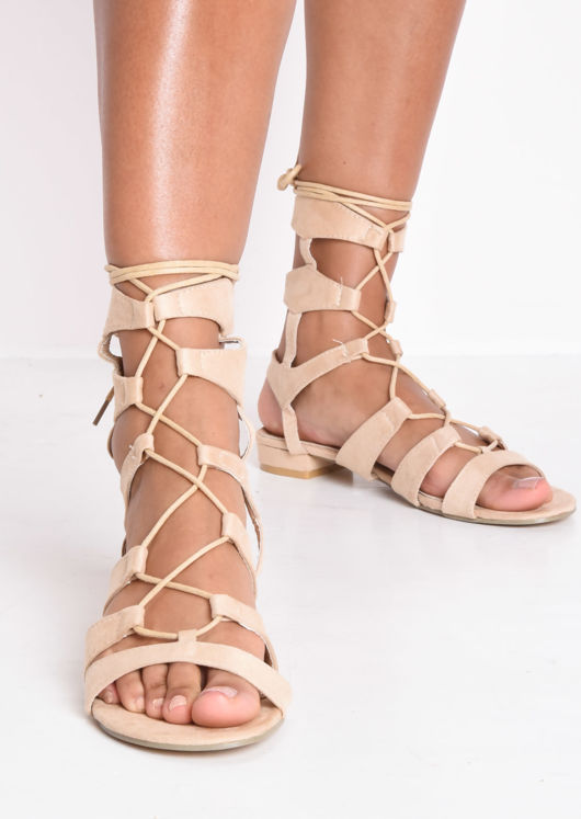 Strappy Gladiator Flat Sandals Apricot Beige