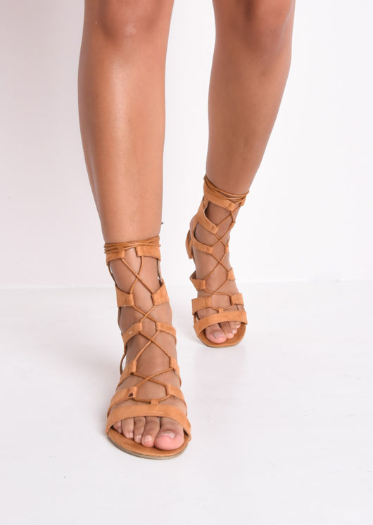 Strappy Gladiator Flat Sandals Camel Brown