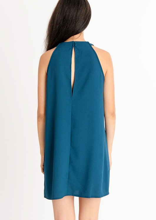 Lia High Neck Keyhole Swing Dress Teal