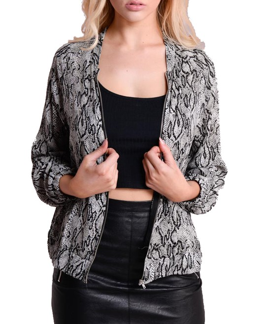Light Monochrome Snake Skin Print Bomber Jacket