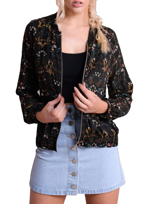 Light Retro Floral Print Zip Up Bomber Jacket Black