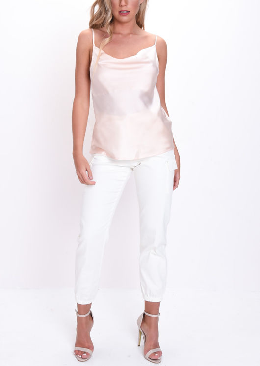 Satin Cowl Neck Top Nude Pink