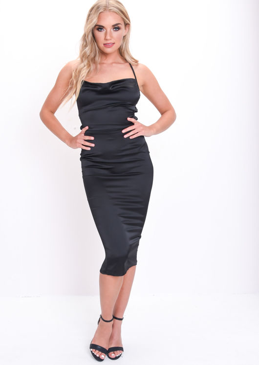Satin Lace Up Back Slip Midi Dress Black