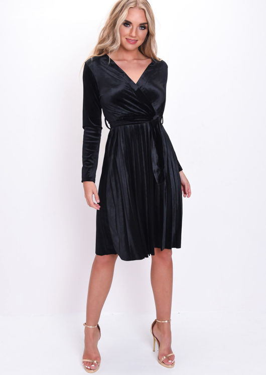 Velvet Wrap Front Tie Waist Pleated Dress Black