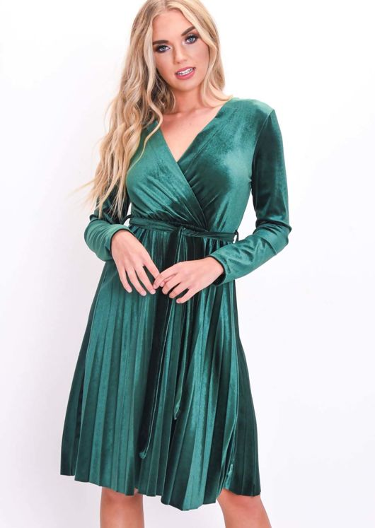 69f73a951261 Velvet Wrap Front Tie Waist Pleated Dress Green
