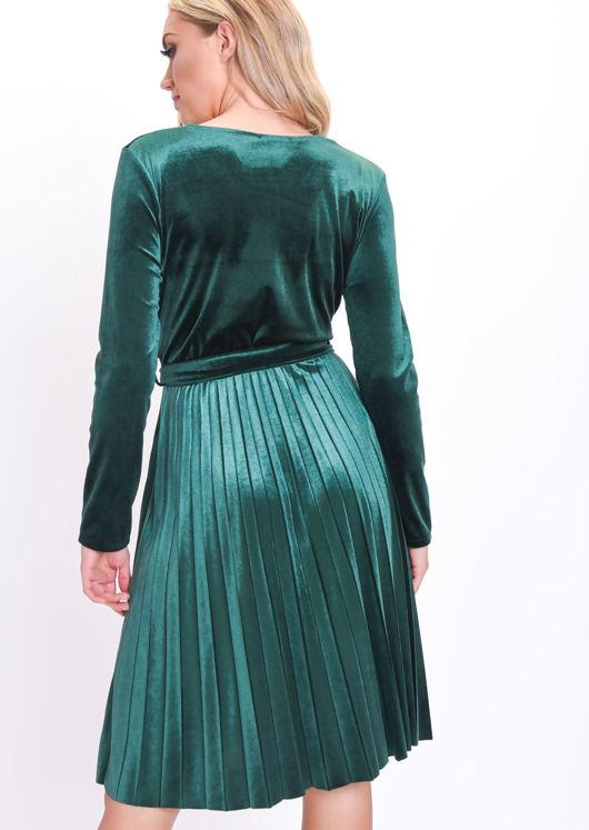 7746719cfe Velvet Wrap Front Tie Waist Pleated Dress Green