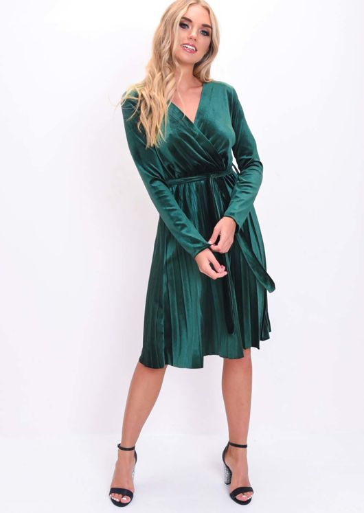 Velvet Wrap Front Tie Waist Pleated Dress Green