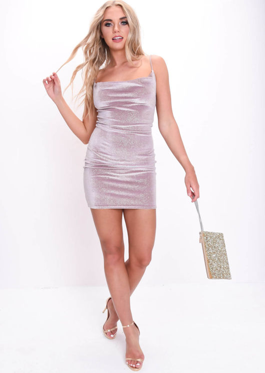 Glitter Velvet Slinky Cowl Neck Mini Dress Nude Pink