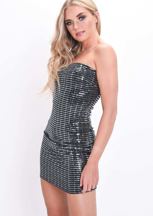 Mirrored Sequin Strapless Bodycon Dress Black