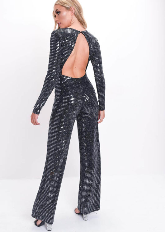 Mirrored Sequin Backless Wide Leg Jumpsuit Black