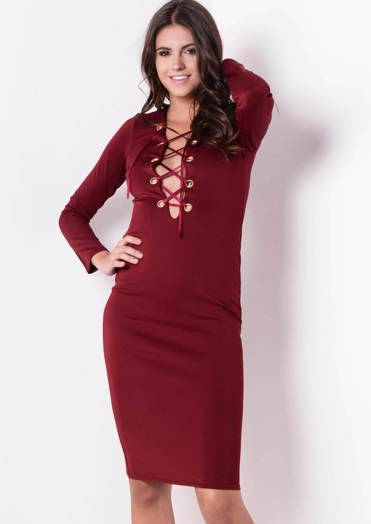 223a7c9b20f8 Long Sleeve Lace Up Bodycon Dress Burgundy Osla22.jpg