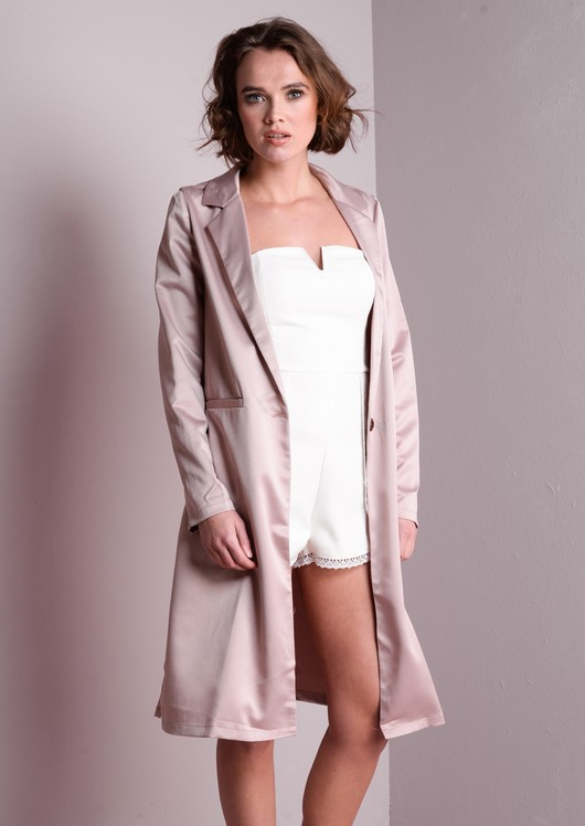 Longline Satin Feel Duster Coat Pink