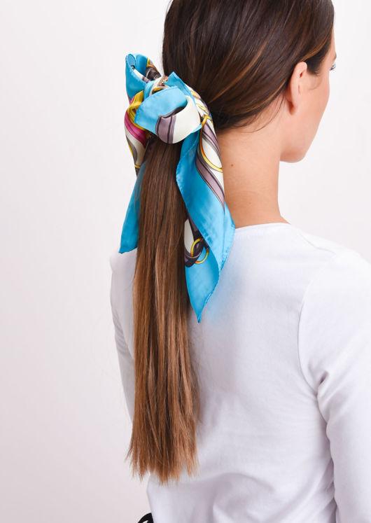 Square Silk Satin Head Scarf Print Turquoise Blue