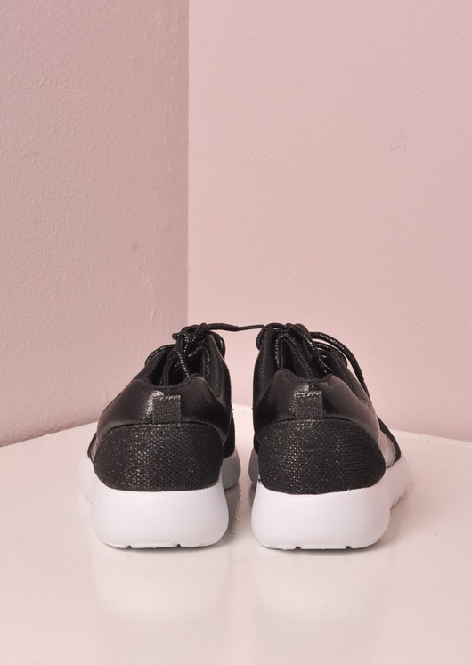 Luxe Black Glitter Faux Leather and Mesh Trainer Black