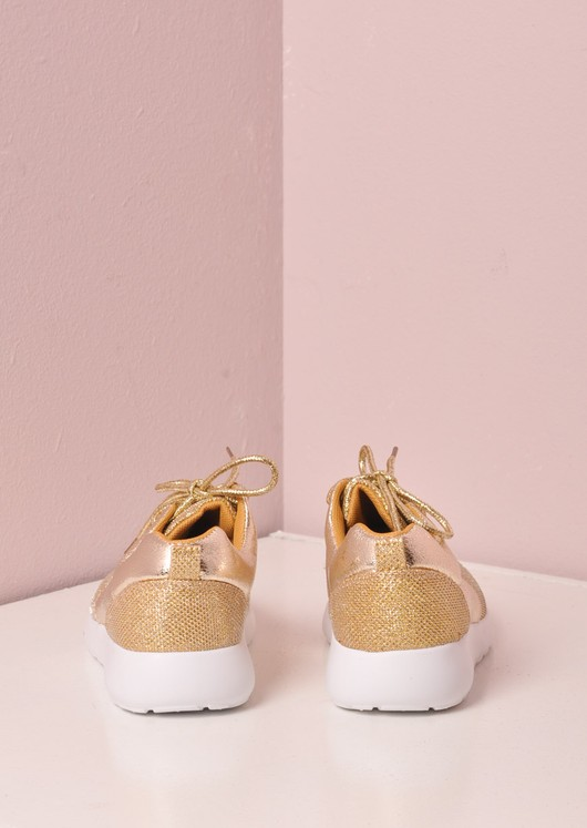 Luxe Gold Glitter Faux Leather and Mesh Trainer Gold