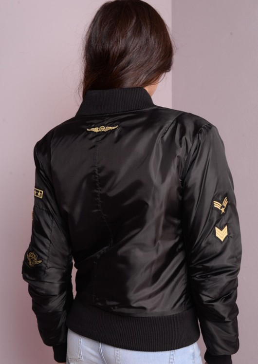 MA-1 Padded Bomber Jacket With Patch Details Black