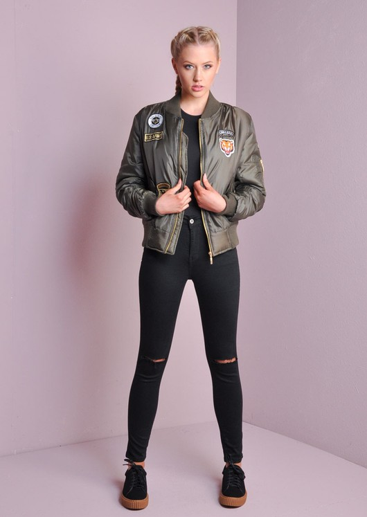 211fac958 MA-1 Padded Badged Bomber Jacket With Patch Details Khaki