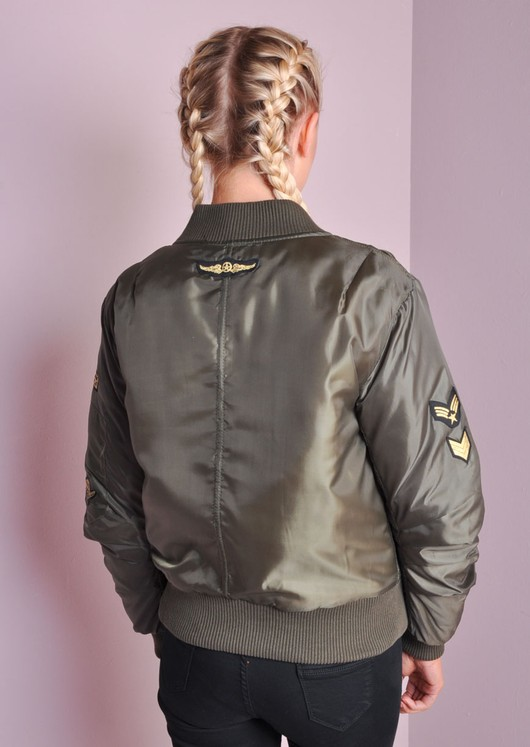 MA-1 Padded Bomber Jacket With Patch Details Khaki