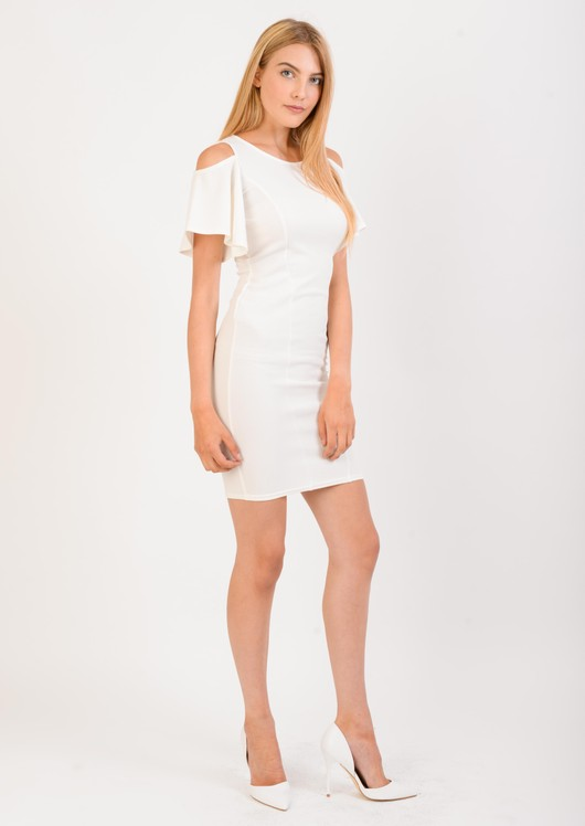 Maisie Textured Exposed Shoulder Bodycon Dress