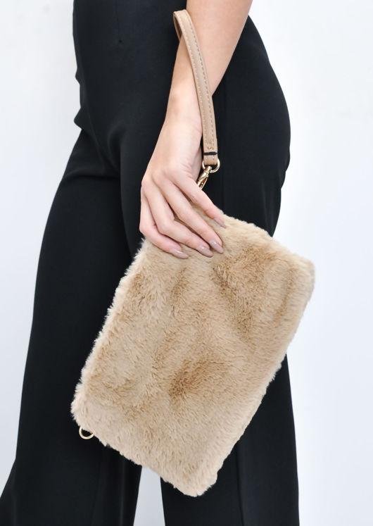 Faux Fur Clutch Bag Beige