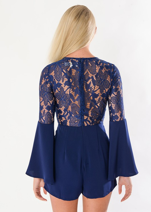 Marnie 70's Boho Lace Insert Playsuit Blue