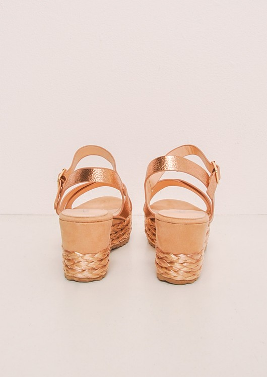 Metallic Cross Front Espadrille Wedge Sandals Rose Gold