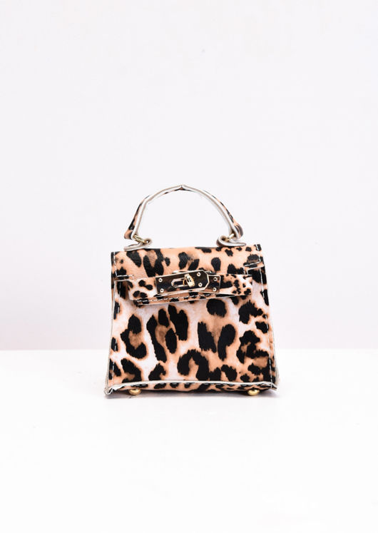Leopard Print Embossed Faux Leather Micro Mini Tote Bag Multi