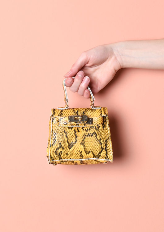 Snakeskin Embossed Faux Leather Micro Mini Tote Bag Yellow
