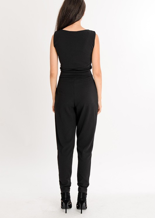 Molly Lace Up Jumpsuit Black