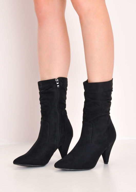 Slouchy Ruched Cone Heel Suede Ankle Boots Black