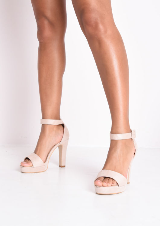 Faux Suede Barely There Platform Heels Beige