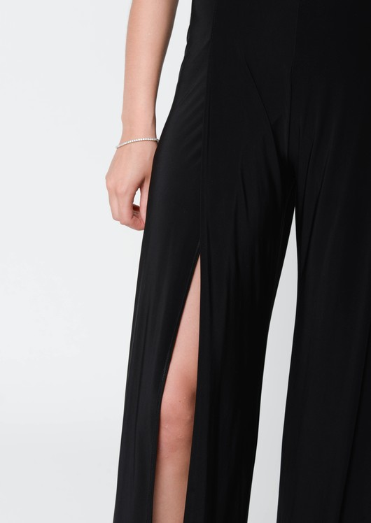 Niki Thigh High Split Plunge Neck Jumpsuit