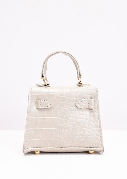 Nude Croc Embossed Faux Leather Micro Mini Tote Bag Beige