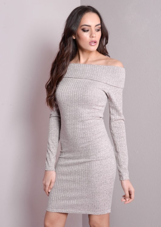 Off the Shoulder Knitted Bodycon Dress Grey