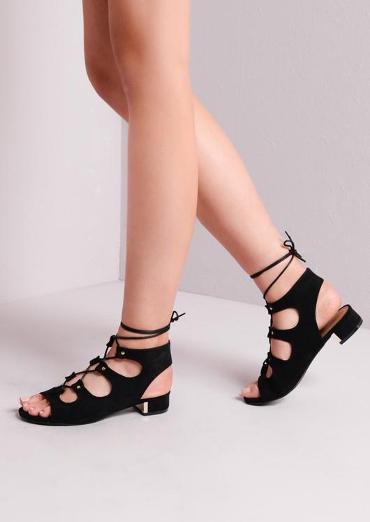 Open Toe Lace Up Low Block Heel Sandals