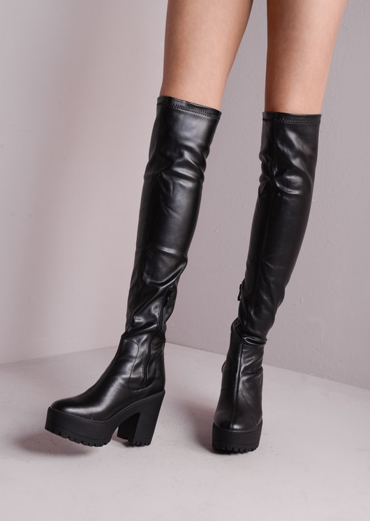 1796a4bba Over The Knee Cleated Sole Faux Leather Chunky Boots Black