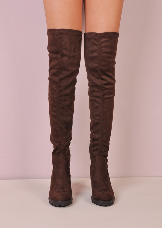Over The Knee Cleated Sole Faux Suede Platform Long Boots Brown