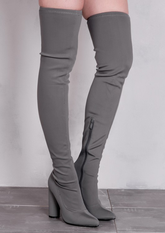 4aa678f331bab Over the Knee Long Boots in Stretchy Lycra Grey