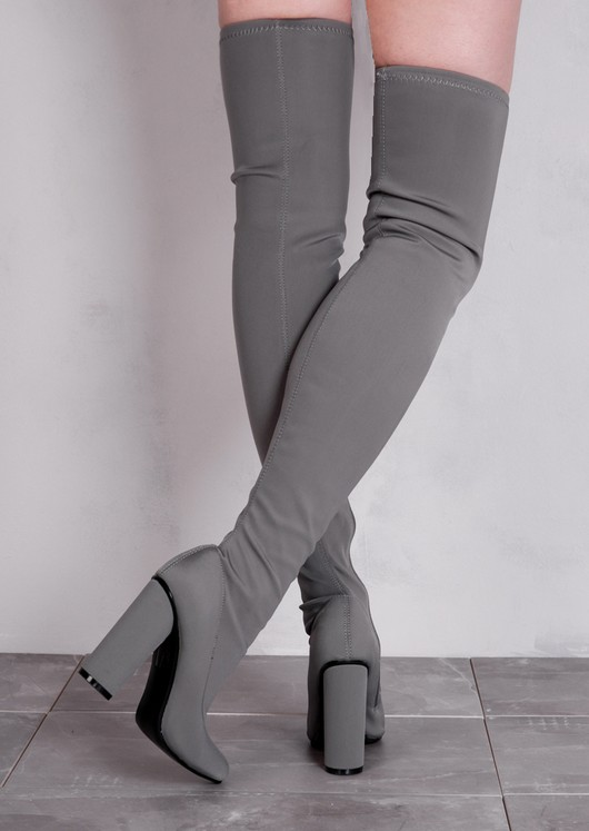 Over the Knee Long Boots in Stretchy Lycra Grey