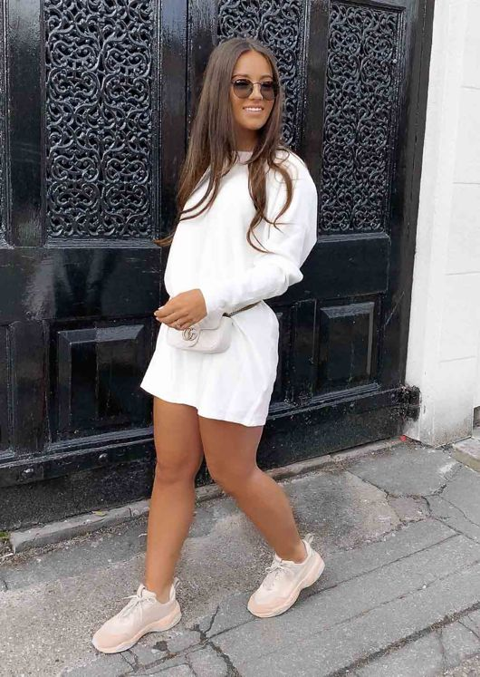 Oversized Knit Sweater Jumper Dress White