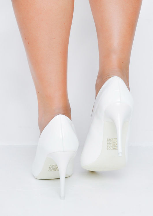 Patent Stiletto Pointed Court Heels White